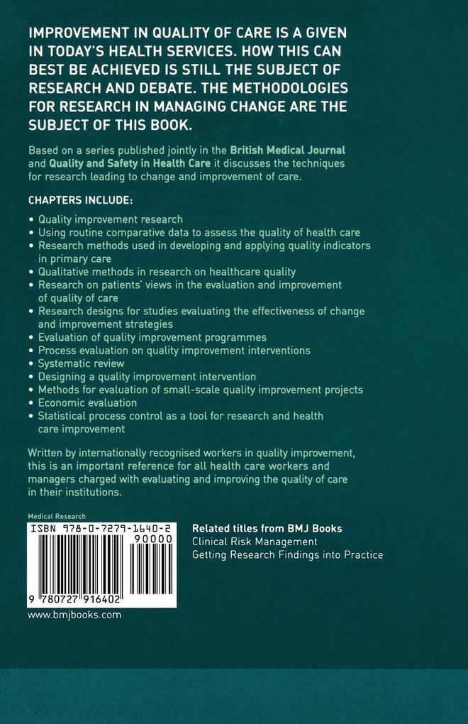 Quality Improvement Research als Taschenbuch