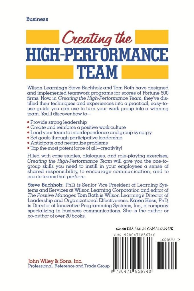 Creating the High Performance Team als Taschenbuch