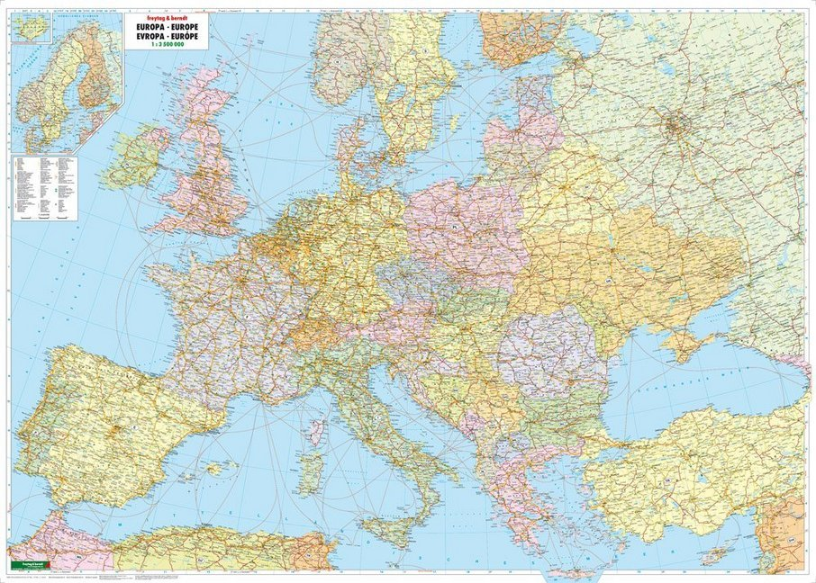 Europa politisch 1 : 3 500 000. Poster-Karte mit Metallbestäbung als Buch
