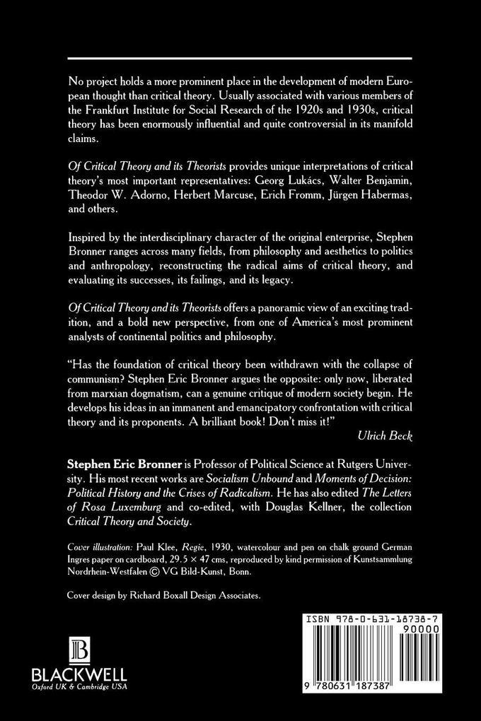 Critical Theory Theorists als Taschenbuch