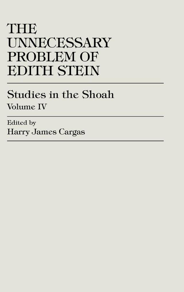The Unnecessary Problem of Edith Stein als Buch
