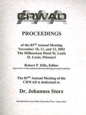 Conference of Research Workers in Animal Diseases: Proceedings of the 83rd Annual Meeting November 10, 11, and 12, 2002 the Millennium Hotel St. Louis als Taschenbuch