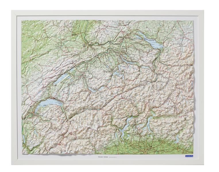Kunststoffrelief Schweiz 1 : 500 000. Weiß Holz als Buch