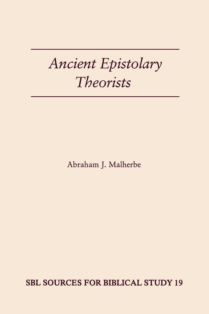 Ancient Epistolary Theorists als Buch