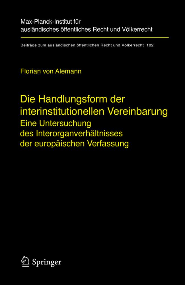 Die Handlungsform der interinstitutionellen Vereinbarung als Buch