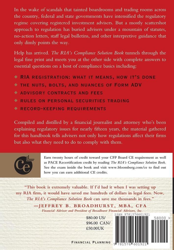 RIA s Compliance Solution Book als Buch