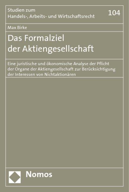 Das Formalziel der Aktiengesellschaft als Buch ...