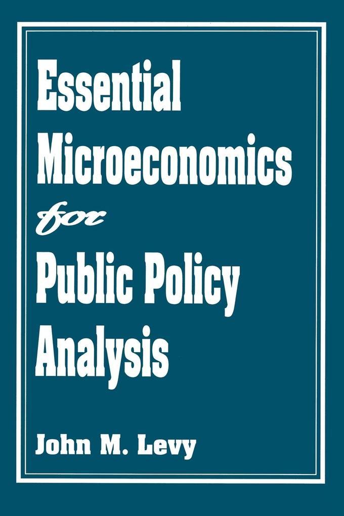 Essential Microeconomics for Public Policy Analysis als Taschenbuch