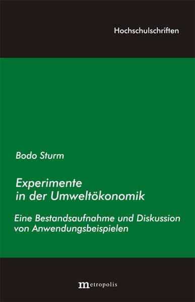 Experimente in der Umweltökonomik als Buch