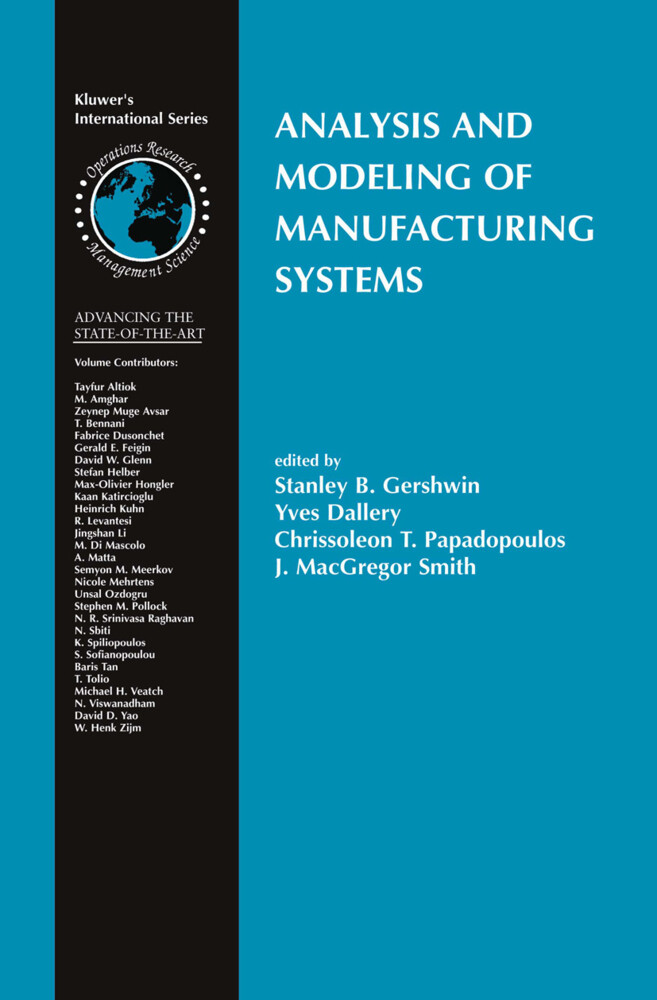 Analysis and Modeling of Manufacturing Systems als Buch