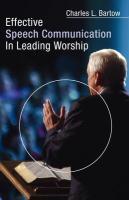 Effective Speech Communication in Leading Worship als Taschenbuch