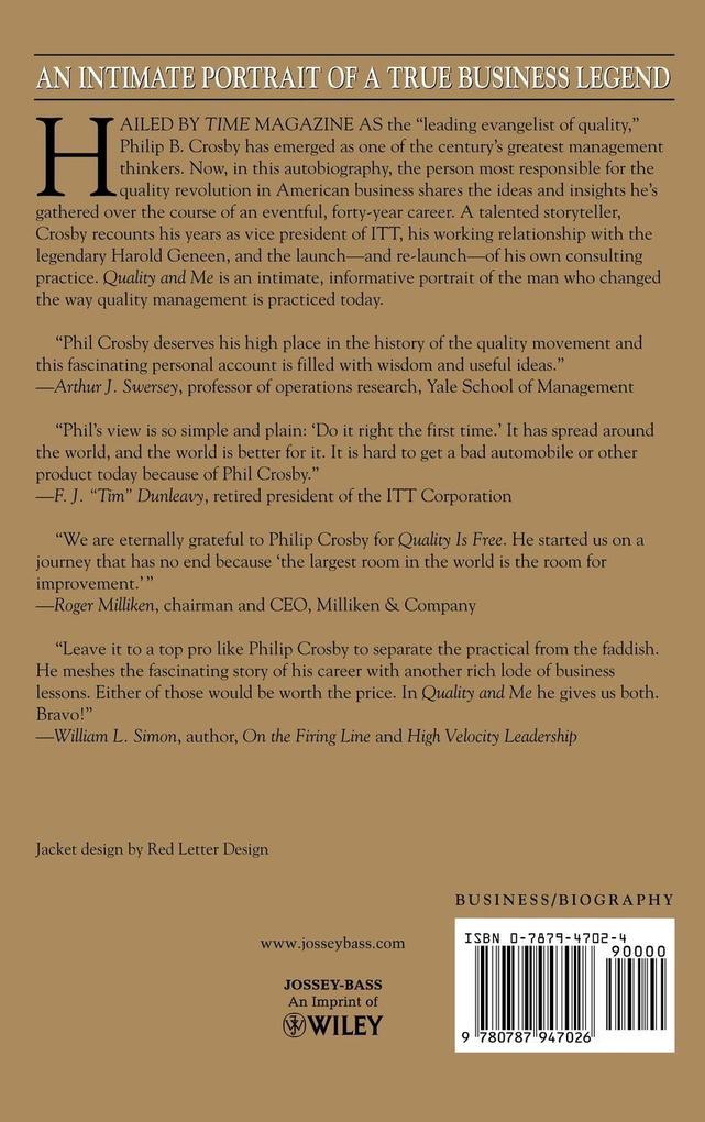 Quality & Me Lessons Evolving Life als Buch von...