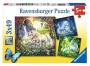 Schöne Einhörner. Puzzle 3 X 49 Teile