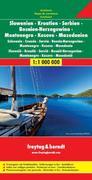 Slowenien / Kroatien / Serbien / Bosnien-Herzegowina / Montenegro / Kosovo / Mazedonien 1 : 1 000 000. Autokarte