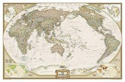 National Geographic: World Executive, Pacific Centered Wall Map - Laminated (46 X 30.5 Inches)