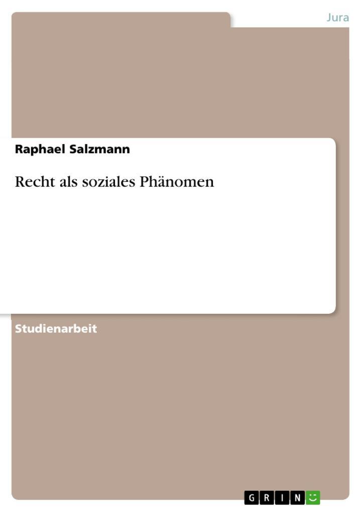 Recht als soziales Phänomen als Buch von Raphae...