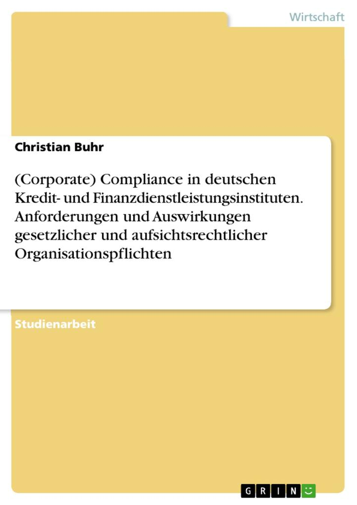 (Corporate) Compliance in deutschen Kredit- und...