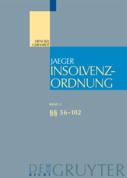 Insolvenzordnung. §§ 56-102 als Buch