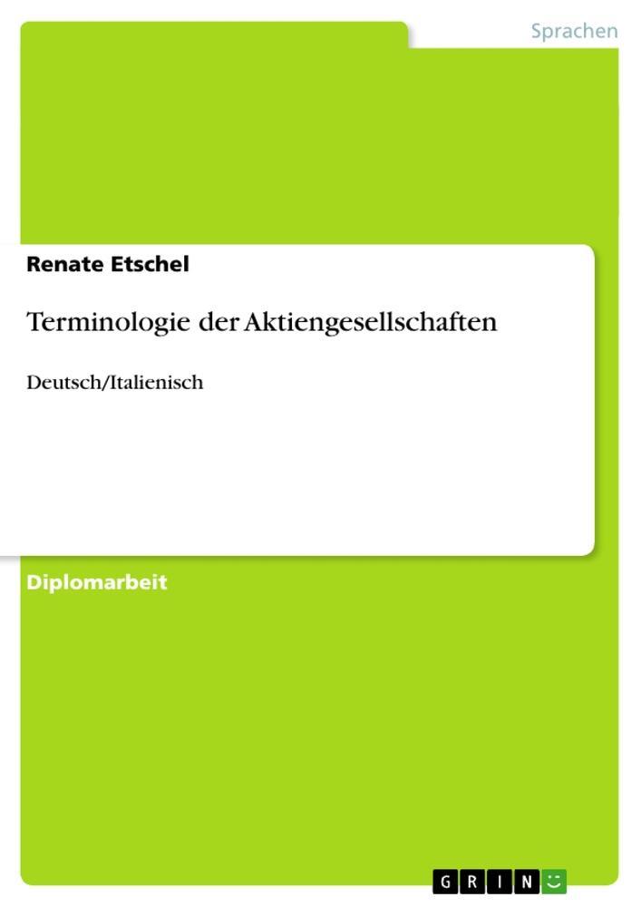 Terminologie der Aktiengesellschaften als Buch ...