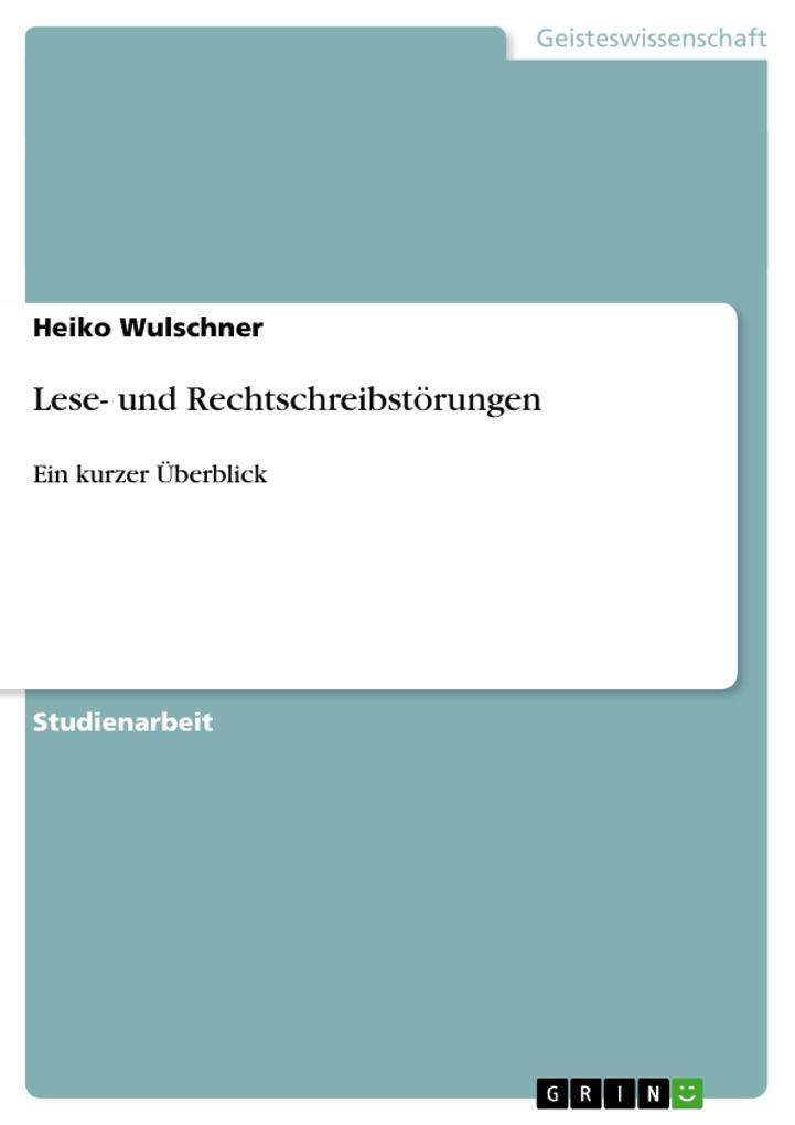 Lese- und Rechtschreibstörungen als Buch von He...