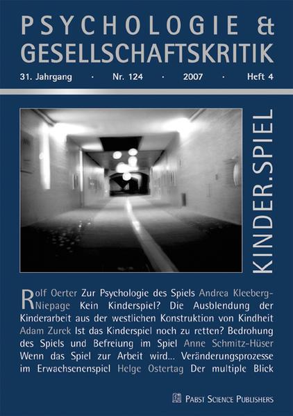 Psychologie & Gesellschaftskritik. Kinder.Spiel...