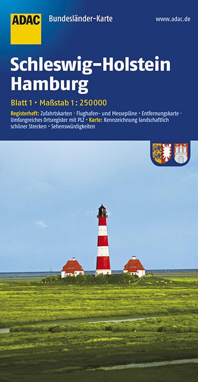 ADAC BundesländerKarte Deutschland 01. Schleswi...
