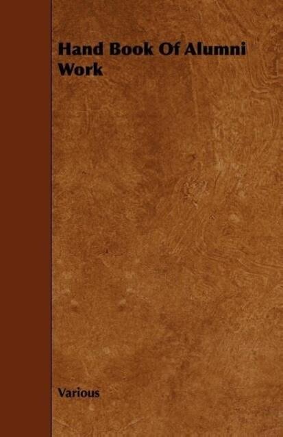 Hand Book of Alumni Work als Taschenbuch von Va...