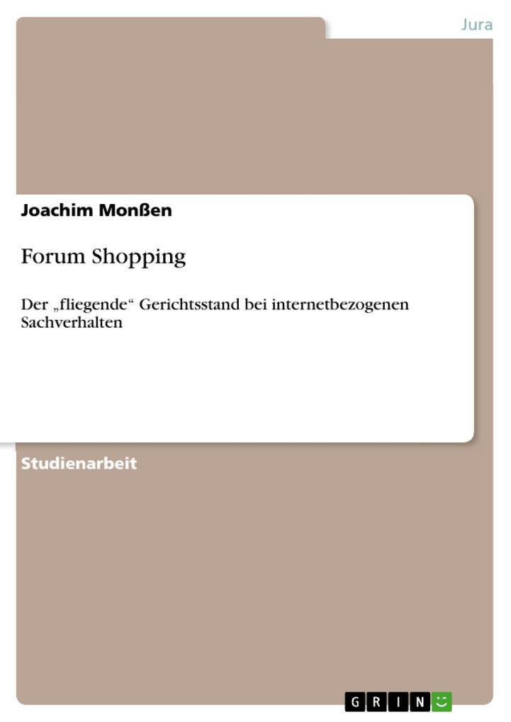 Forum Shopping als Buch von Joachim Monßen