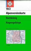 DAV Alpenvereinskarte 10/2 Hochkönig - Hagengebirge Weg und Skirouten 1 : 25 000