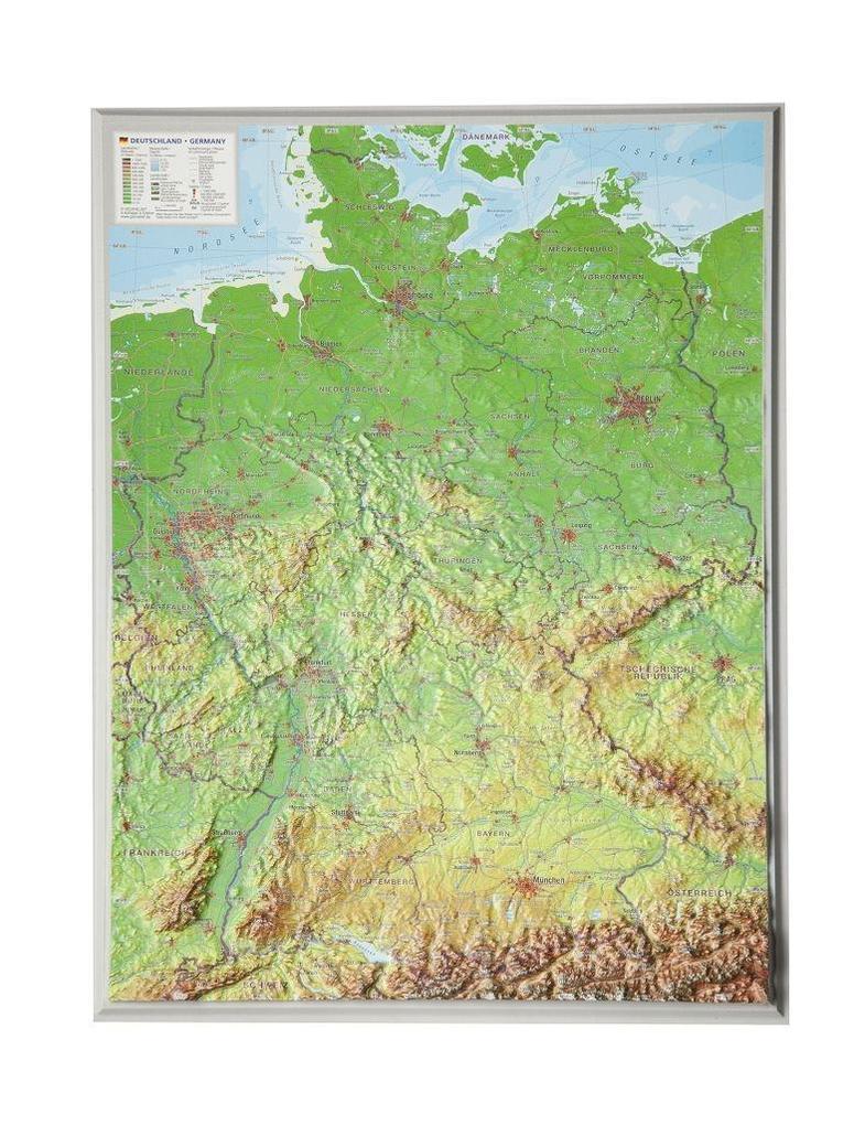 Reliefkarte Deutschland klein 1 : 2 400 000 als...