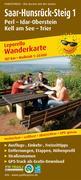 Wanderkarte Saar-Hunsrück-Steig 1, Perl - Idar-Oberstein, Kell am See - Trier 1:25 000