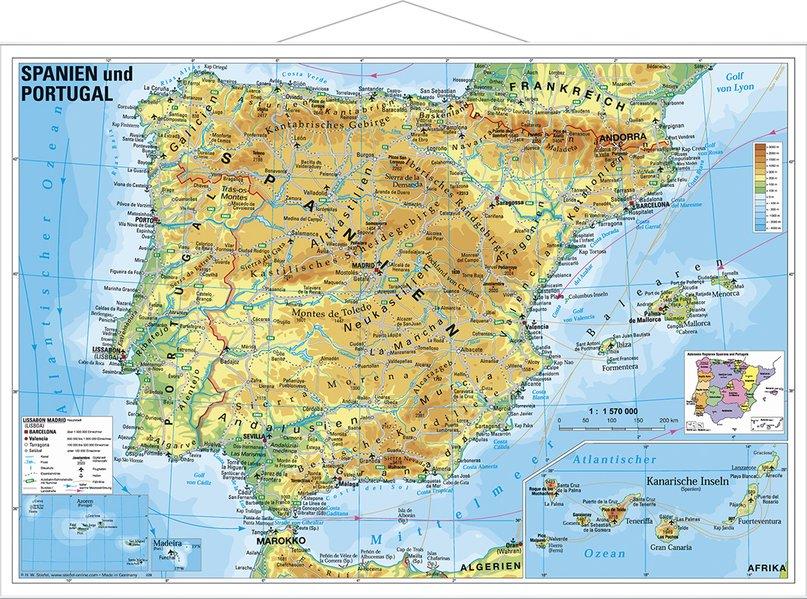 Azoren Karte Weltatlas.Spanien Und Portugal Physisch Wandkarte Buch Heinrich Stiefel