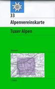 DAV Alpenvereinskarte 33 Tuxer Alpen 1 : 50 000 Skirouten