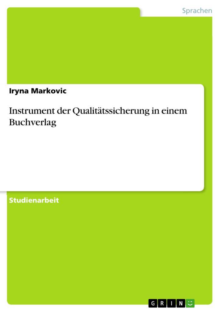 Instrument der Qualitätssicherung in einem Buch...