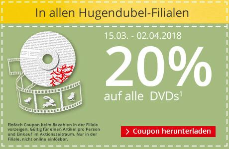 In allen Hugendubel Filialen: 20% auf DVDs sparen