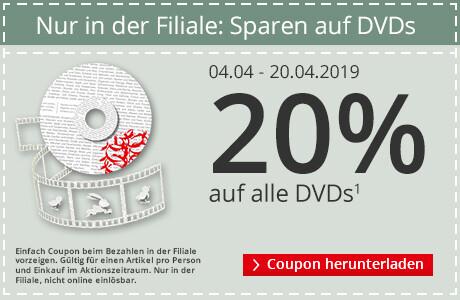 Nur in der Filiale: 20% Rabatt auf DVDs