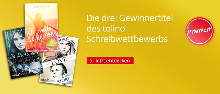 Die drei Gewinnertitel des Schreibwettbewerbs von tolino media und Carlsen Impress