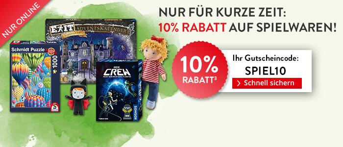 Sparen Sie jetzt 10% auf alle Spielwaren!