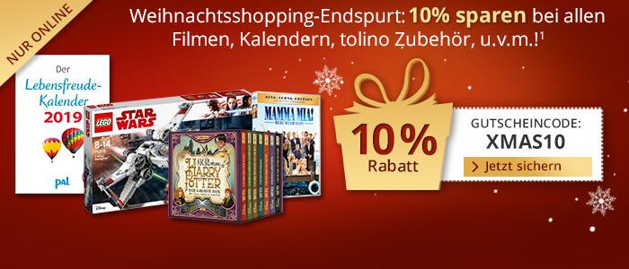 Sparen Sie jetzt 10% auf alle Spielwaren, Kalender, Filme, Schreibwaren und mehr!
