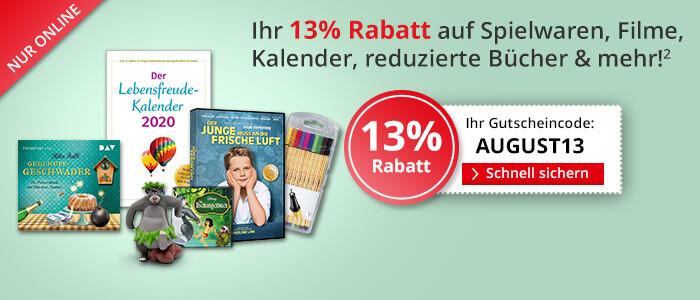 Sparen Sie jetzt 13% auf alle Filme, Spielwaren, Hörbücher, Kalender und mehr!