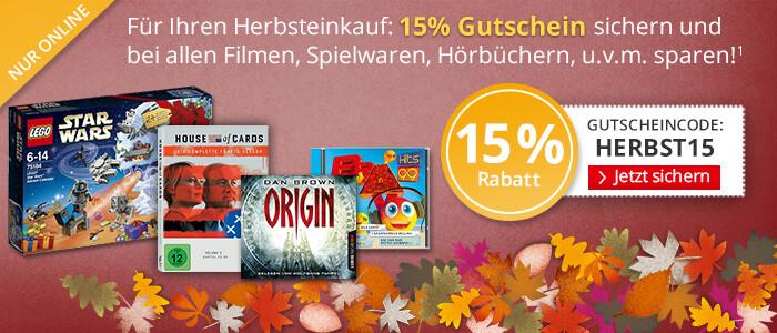 15% sparen auf Spielwaren, Filme, Musik, Kalender u.v.m.
