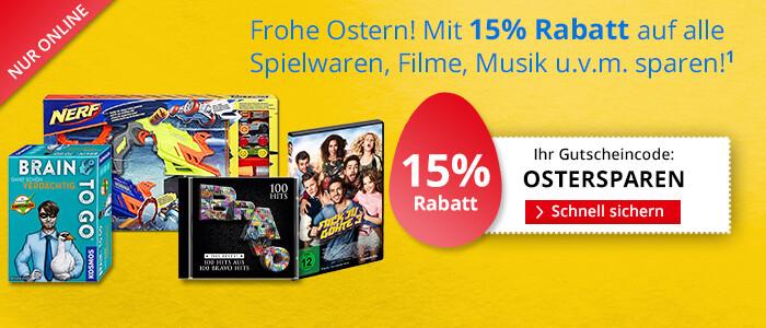 Sparen Sie jetzt 15% auf alle Filme, Spielwaren, Hörbücher, Steuersoftware, und mehr!