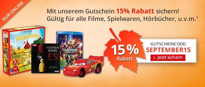 Sparen Sie 15% auf Filme, Spielwaren, Kalender u.v.m.