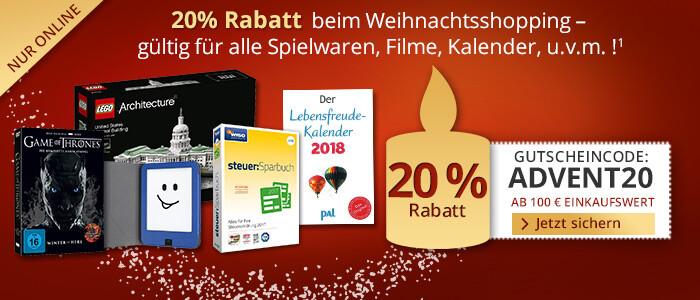 20% Rabatt ab einem Einkaufswert von €100 sichern
