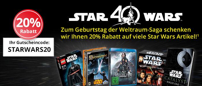 40 Jahre Star Wars: Sichern Sie sich 20% auf viele Star Wars Artikel!