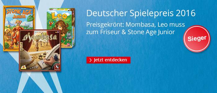 Deutscher Spielepreis 2016 - Mombasa, Leo muss zum Friseur, Stone Age Junior