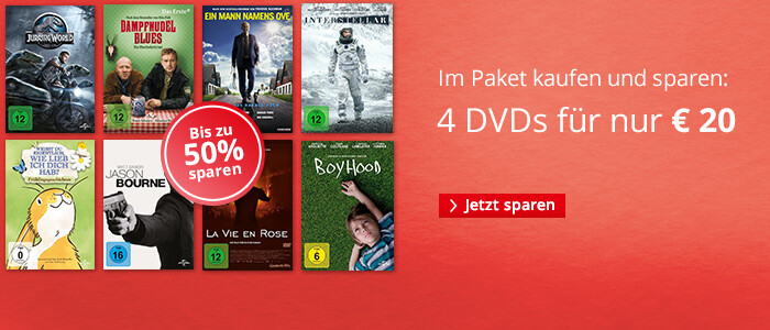 4 DVDs für € 20 - jetzt bis zu 50% sparen!