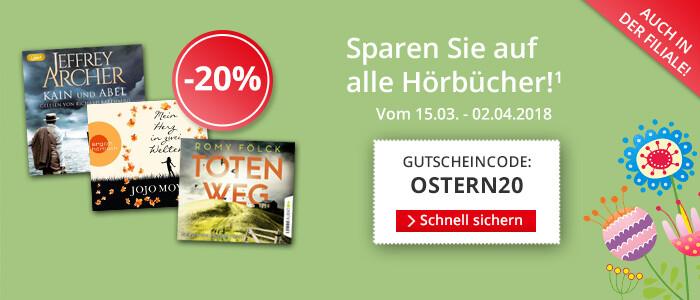Sparen Sie 20% auf alle Hörbücher und Hörbuch Downloads