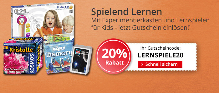 20% auf Lernspiele und Experimentierkästen - jetzt sichern!