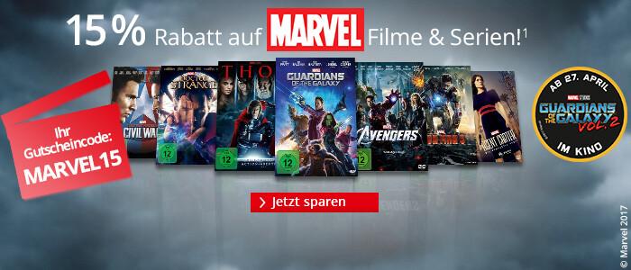 Ihr 15% Gutschein auf ausgewählte MARVEL Filme & Serien